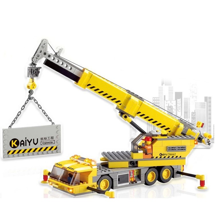 Children educational toys City cars crane Truck DIY Building block sets  Christmas gift Enlighten gudi city fire emergency truck diy building block sets brick collectible 431pcs safe educational toys for children gifts