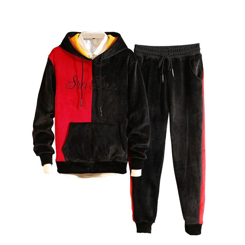 Loldeal Double-sided Plus Velvet Sets Fleece Lined Sweatshirt + Pants Tracksuit Warm Sporting Suits Men Sportswear 2 Piece Suit