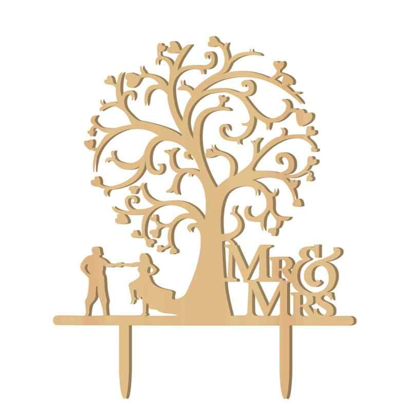 Wood Cake Topper Mr And Mrs Love Birds Tree Cake Topper Wooden Wedding Cake Toppers