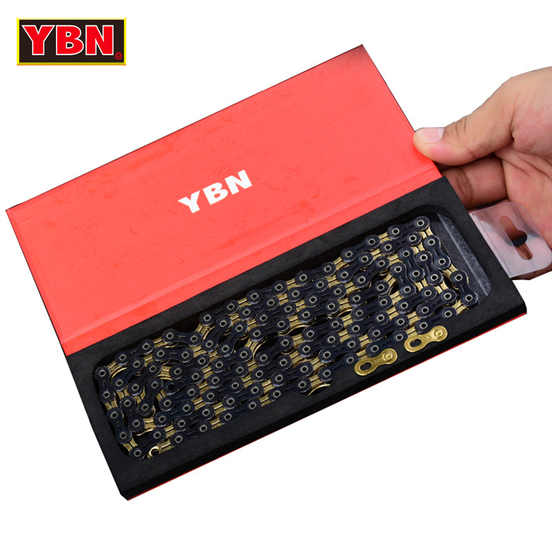 YBN chain SLA1110 GB golden bicycle hollow 11 speed bike chain mountain road bike 11 variable ultralight 248g 116 links boxed 2017 new original ybn 11 speed diamond black mtb mountain road racing bike chain sla 110bg