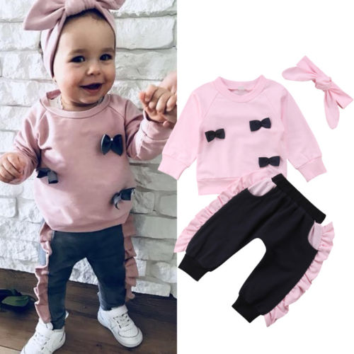 cfa6c2133 Emmababy Fashion Kids Baby Girl Pink Bow Tops Sweatshirt Ruffle Pants 3Pcs  Outfit Clothes