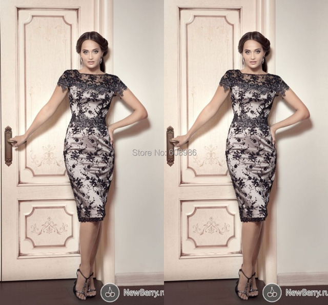 Elegant 2015 Formal Party Dress Evening Gowns With Lace Short Sleeve