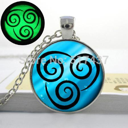Glowing Jewelry Air Nomad Necklace from Avatar the Last Airbender. Art photo glow in the dark necklace pendants