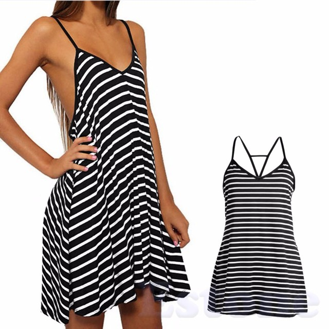 Fashion Lady Sexy Summer Cool Black And White Stripes Loose V Neck