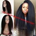 Top Virgin 8A mongol Yaki italiano llena del cordón del pelo humano pelucas para mujeres negras 100 del frente del cordón grueso Yaki pelucas con el pelo del bebé
