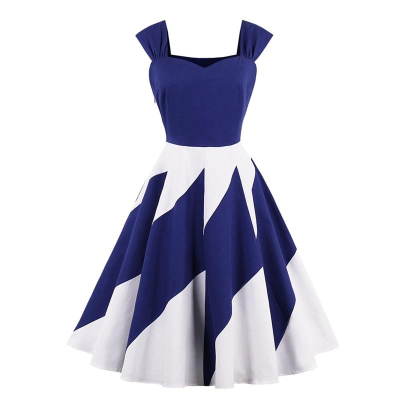 Summer Dress Women Retro Blue and White Patchwork Sling Dresses Sleeveless Spaghetti Strap Summer Party Dress Sundress vestidos