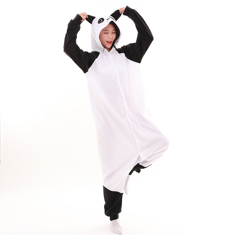panda Kigurumi Onesies Costumes 2019 Men and women Hooded animal cartoon pajamas blue shark home lovers long sleeve Jumpsuits
