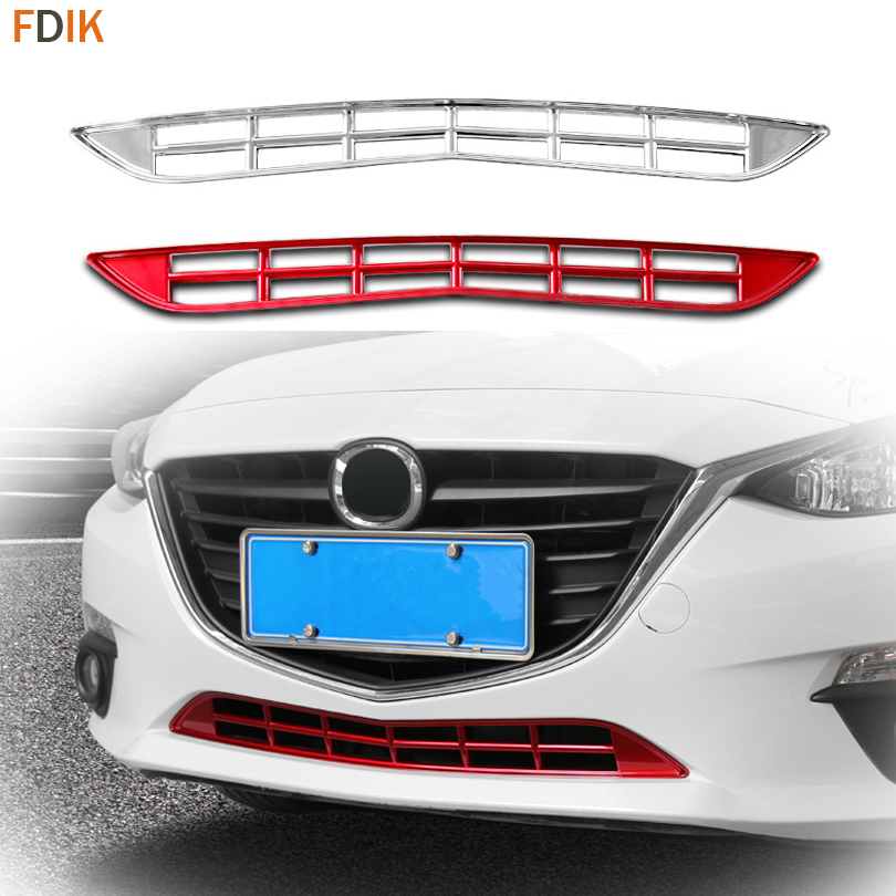 Sport Red & Chrome Front Bumper Lower Mesh Grille Grill Cover Trim Garnish Insert for Mazda 3 AXELA 2014 2015 2016 for mazda 3 axela 2014 2015 2016 abs chrome front grille trim center grill cover around trim car styling accessories 11 pcs set
