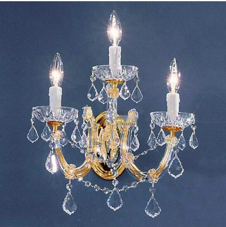 Maria Theresa Crystal Wall Light Lighting Modern Wall Lamp Chrome Sconce Lighting 3 Head Free shipping