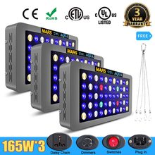 3pcs Mars Aqua 165W Dimmable LED Full Spectrum Grow Carro Armato di Pesci di Barriera Corallina Luce Dell'acquario(China)