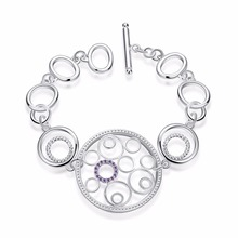 925 New Fashion Ring Romantic Shiny Silver Circular Relating To Girls And Female Personality Bracelet Women Wedding Accessories
