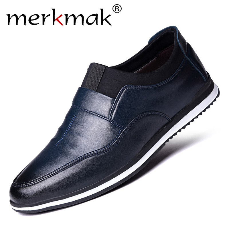 Merkmak Formal Loafers Dress-Shoes Slip-On Comfortable Buiness Casual Male Solid Men