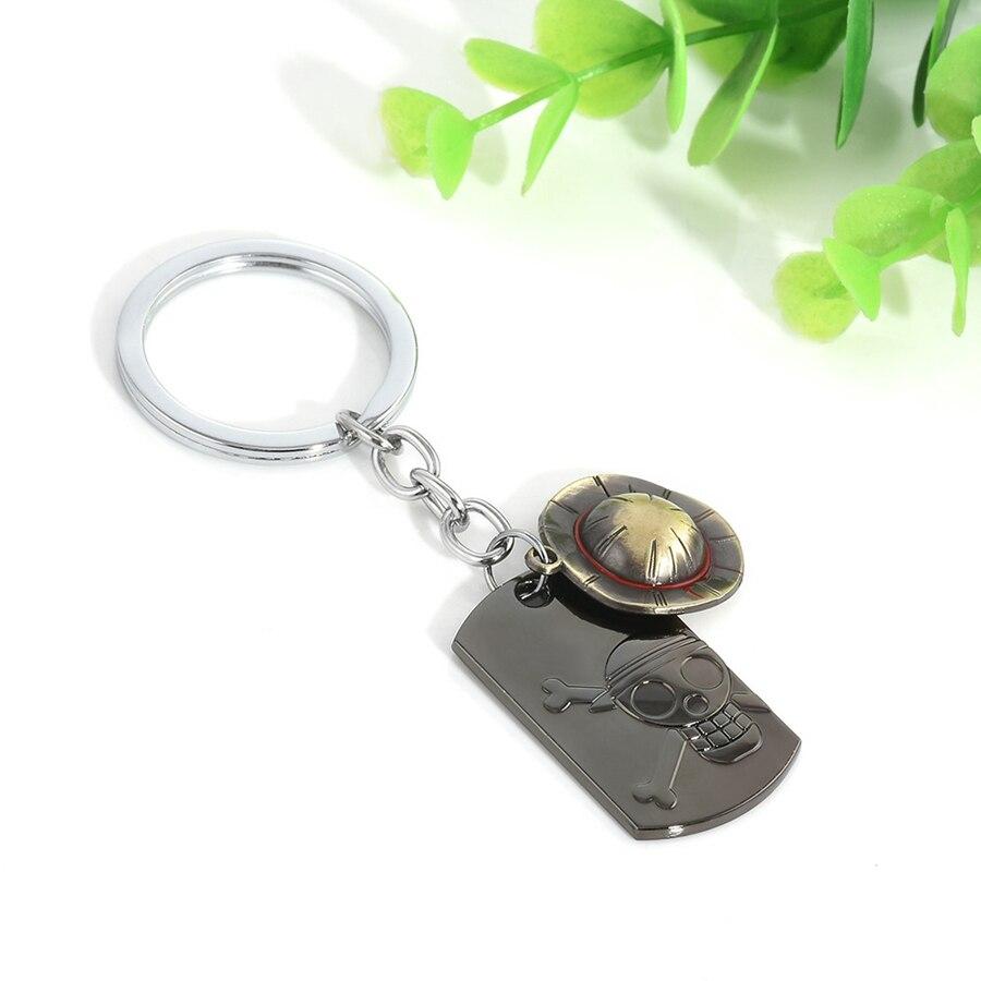 Anime One Piece Keychain Monkey D Luffy Logo Straw hat Keychain Metal Fashion Accessories