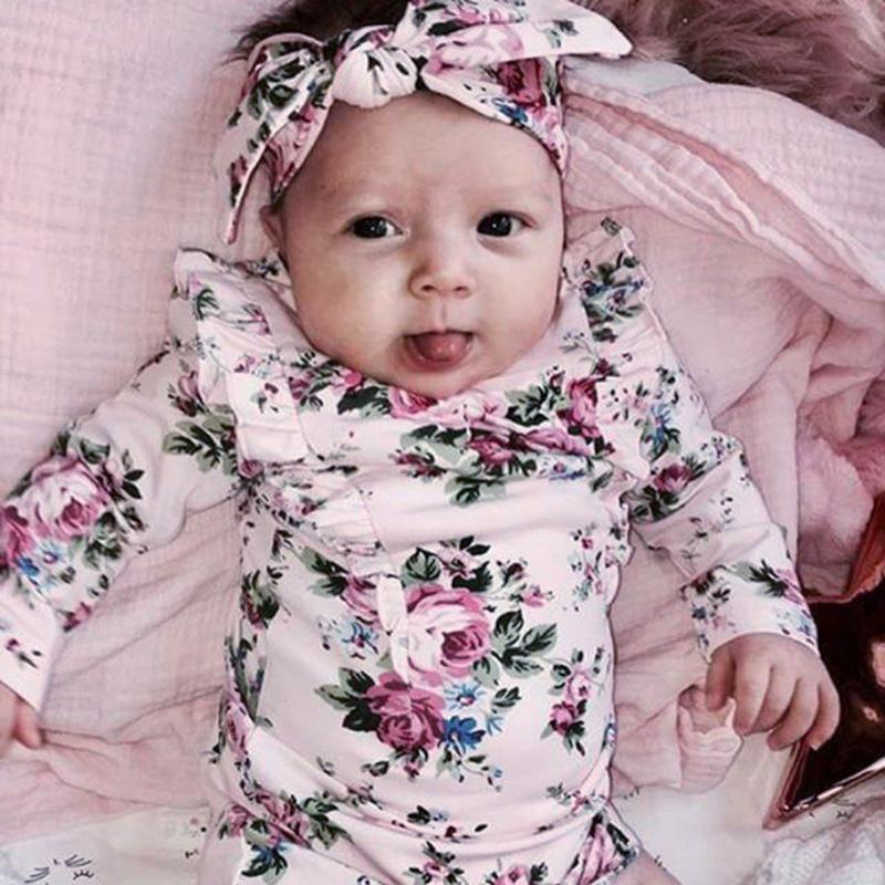 Infant Baby Long Sleeve Floral Rompers Baby Autumn Winter Clothes Romper Newborn Kids Baby Girl Jumpsuit Clothing Outfit 3pcs set newborn infant baby boy girl clothes 2017 summer short sleeve leopard floral romper bodysuit headband shoes outfits