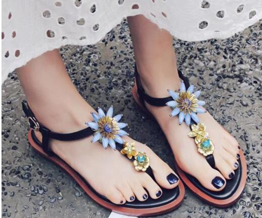 ea043efdb7cb Apoepo Brand Vintage crystal embellished sandal for woman 2017 sexy thong  sandal ankle strap flower flat sandal -in Women s Sandals from Shoes on ...