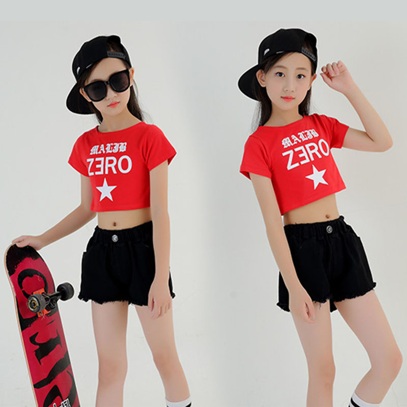 Girls Cool Cotton Ballroom Hip Hop Jazz Dance Competition Costume Clothing Clothes For Children Outfits Crop T Shirt Tops Shorts