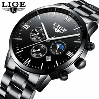 Мужские часы Лидирующий бренд роскошные часы Для мужчин Moon Phase полный стали Бизнес Модные Спортивные кварцевые Часы Для мужчин Relogio masculino Saat
