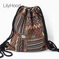 Mochila De tela de LilyHood para mujer, mochila para mujer, Bohemia, bohemio, bohemio, Chic, Azteca, Tribal, étnico, eiza, marrón, bolsas de mochila con cordón