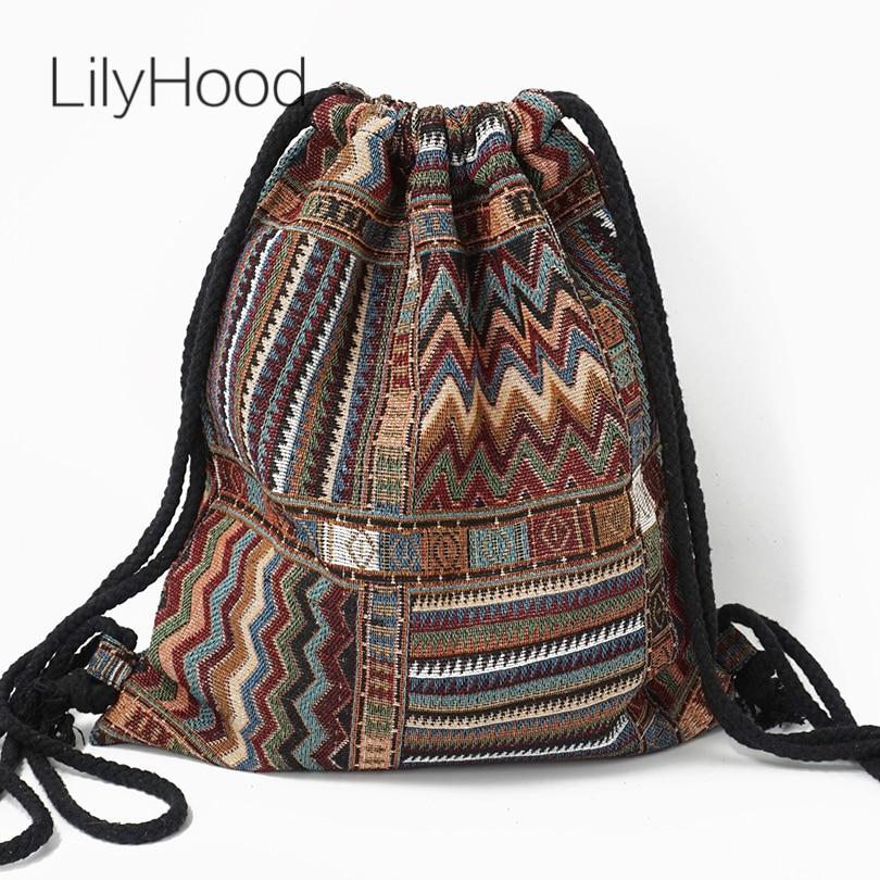 Mochila de tela LilyHood para mujer, mochila para mujer, gitana, bohemio, bohemio, Chic, Azteca, Tribal, étnico, de estilo bohemio, con cordón marrón