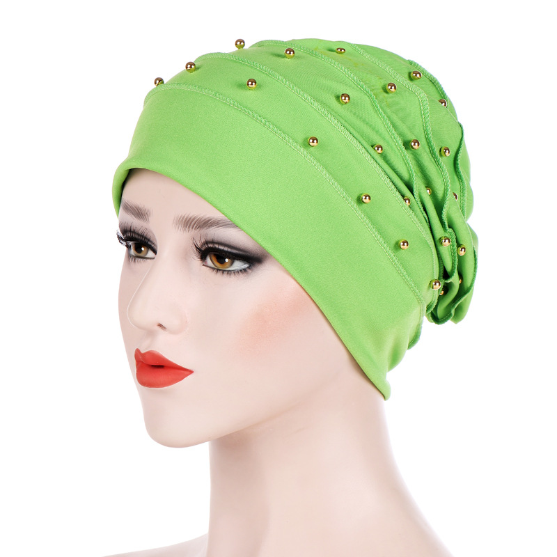 Women Beading Muslim Cancer Chemo Beanie Scarf Turban Headscarf  Muslim Scarf  Hijab  Women Turban