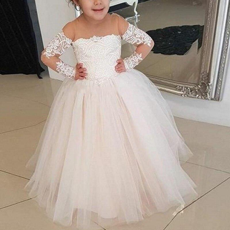 Infant Children Birthday Party Dresses vestido daminha Flower Girl Dresses Long Sleeves Puffy Flower Girl Dress