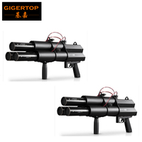 Tiptop 2 xlot Батарея Глава 3 Электрический Streamer Кэннон DMX 3 Каналы руку триггер Управление черный Алюминий литья конфетти DJ пистолет