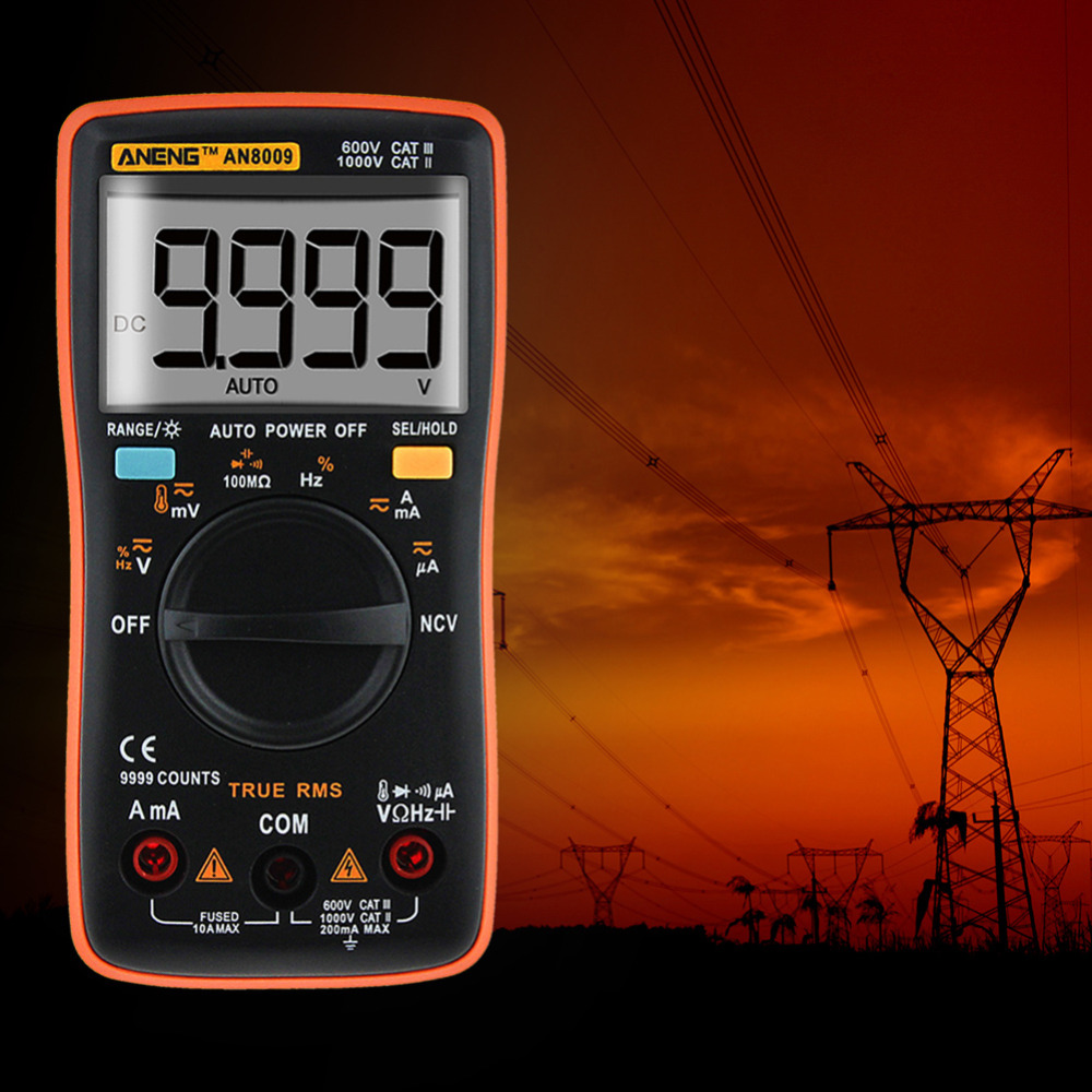 Multimeter AN8009 True-RMS Auto Range LCD Digital Multimeter NCV Ohmmeter AC/DC Electrical Tester Measurement with Storage Bag an8009 auto range lcd digital multimeter full protection ac dc voltmeter ammeter ohm capacitance ncv electrical tester