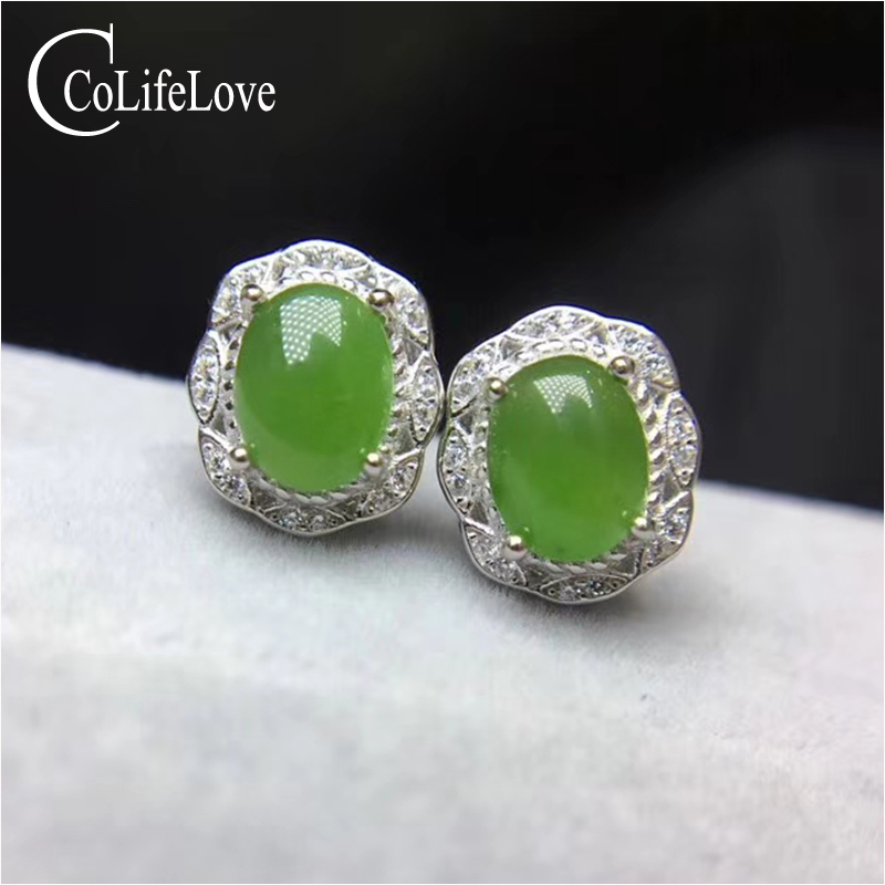 Chinese Style Jade Stu Earrings for Party 6 Mm * 8 Mm Natural Green Jade Silver Earrings Solid 925 Silver Jasper Jewelry