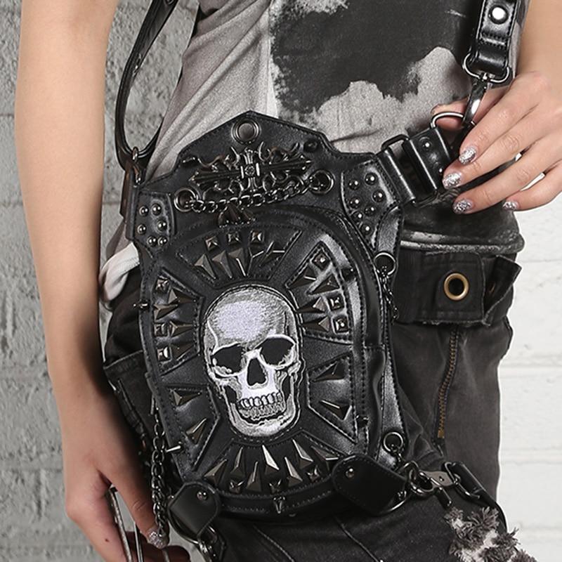 PU En Cuir Unisexe Croix Corps Fanny Pack Crâne tête Motif Punk de Haute Qualité Messenger Épaule Sac Gothique Taille Jambe Hanche sacs