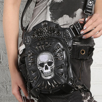 PU Leather Unisex Cross Body Fanny Pack Skull head Pattern Punk High Quality Messenger Shoulder Gothic Bag Waist Leg Hip Bags
