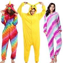 Flannel Kigurumi Onesies for Women Pajamas Animal Stich Pyjamas Adult Hooded Pikachu Sleepwear Pijama Unicornio