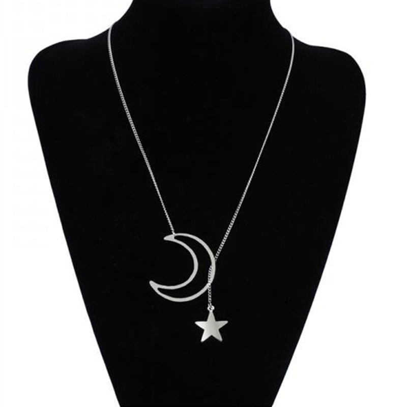 Fashion Moon star Necklaces Jewelry Necklaces New Style Vintage Womens Chain Necklace Bijoux Gift