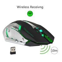 2 4G Rechargeable Wireless Mouse Optical Mouse 6 Buttons 2400DPI Computer Mouse 7 Colors Backlight LED