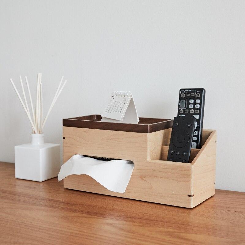 Caja de pañuelos multifunción de madera maciza sala de estar Control remoto caja de almacenamiento Oficina Hotel mesa de centro Decoración-in Cajas de pañuelos from Hogar y Mascotas    1