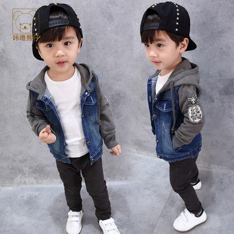 Женя Новый Демисезонный Обувь для мальчиков джинсовая куртка с капюшоном в стиле пэчворк Повседневная Верхняя одежда Детская clorthes модный б...