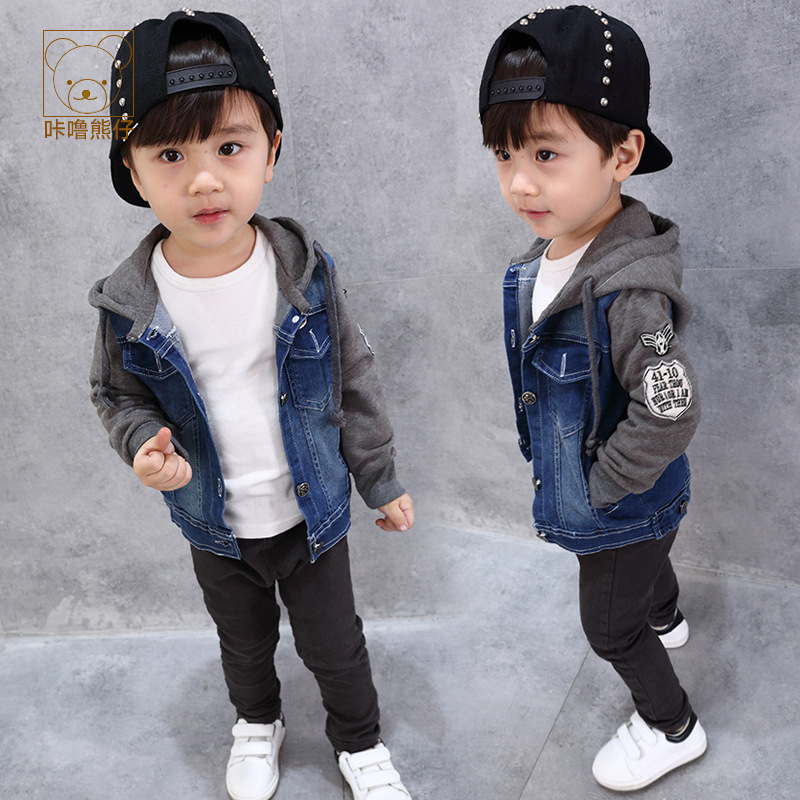JENYA New Spring Autumn Boys Jean Jacket Denim Coat Hooded Patchwork Casual Outwear Children Clorthes Fashion Brand Infant Cloth