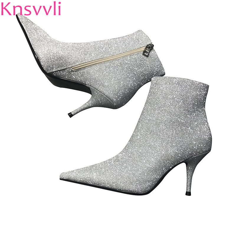 Knsvvli new style bling bling silver ankle boots women pointy toe thin high heel runway shoes woman sequins short boots