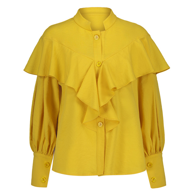 78e72520552 Women Yellow Ruffle Blouse Long Lantern Sleeve Stand Collar Button Tops  2019 Spring Fashion Plain Office Elegant Blouse Shirt