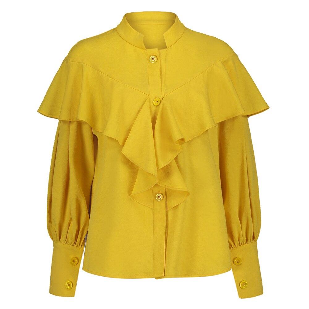 Women Yellow Ruffle Blouse Long Lantern Sleeve Stand Collar Button Tops 2018 Spring Fashion Plain Office Elegant Blouse Shirt
