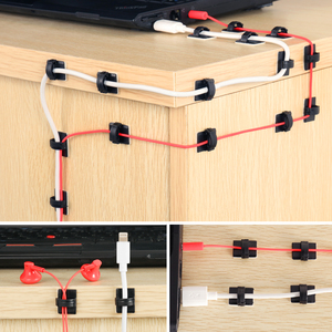 Image 5 - 100/50/10pcs Adhesive Car Cable Clips Cable Winder Drop Wire Tie Fixer Holder Cord Organizer Management Desk Cable Tie Clamps