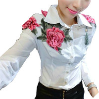 Embroidery Blouse Embroidery Shirt Korean Style Korean Clothing Store Floral Flower Blouse White Shirt Batwing Long