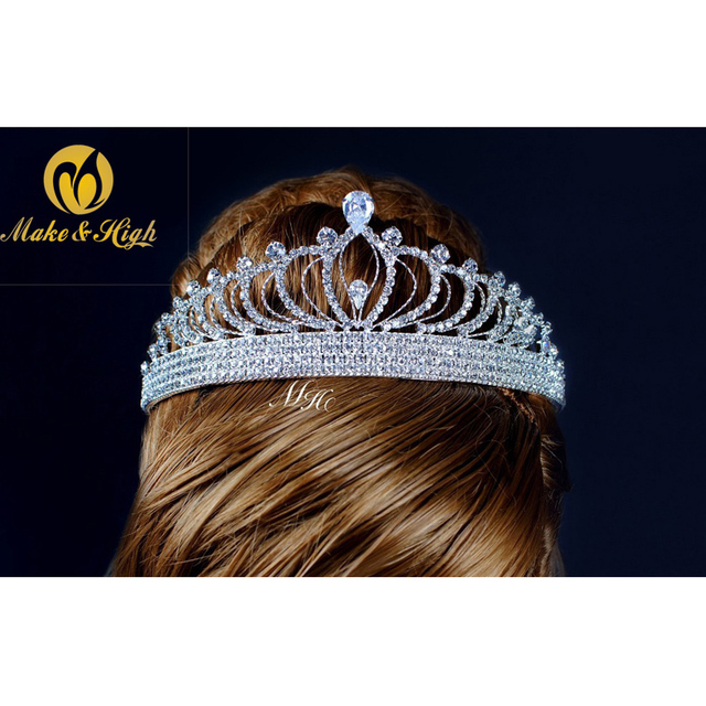 Luxury Princess Wedding Bridal Hair Accessory Full Crystal Rhinestones Brides Tiaras and Crowns Prom Pageant Party Handmade