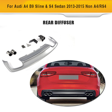 PP Car Rear Diffuser Lip With Exhaust Muffler For Audi A4 B9 Sline S4 Sedan 4