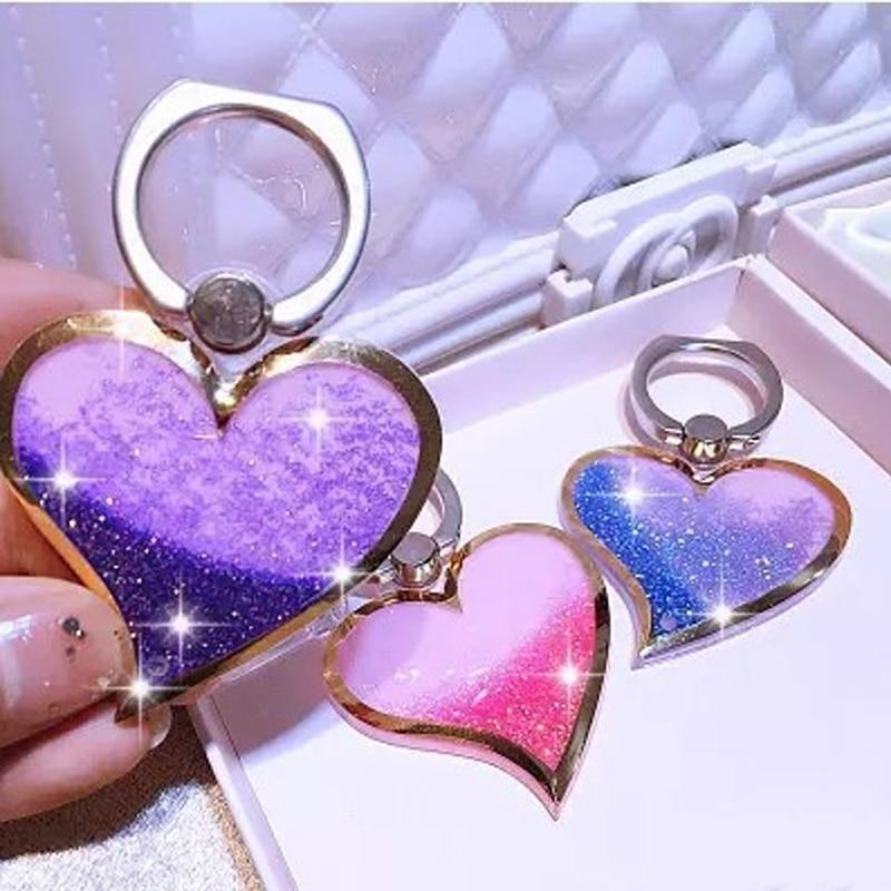 Coração-em forma de Líquido Areia Movediça 360 Graus Ring Finger suporte do telefone Titular Suporte Do Telefone Móvel Amor Projeto Glitter Bling