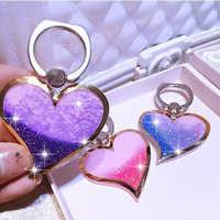 W kształcie serca ciecz Quicksand 360 stopni palec serdeczny telefon komórkowy stojak uchwyt miłość projekt Glitter Bling stojak na telefon