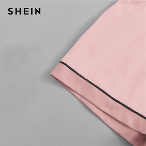 Image 4 - SHEIN Pink Contrast Piping Pocket Front Shirt Pajama Set Short Sleeve Lapel Top With Elastic Waist Shorts Womens Two Piece Sets