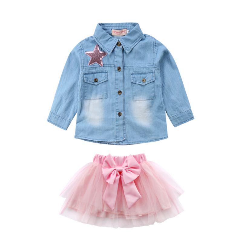 264bfb063dbaf0 Fashion Summer Kids Baby Girl Denim Sequin Tops Shirt+Tutu Lace Skirts  Dress Outfit Set