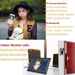 Image 2 - Intercomunicador con huella dactilar RFIC para puerta, 7 pulgadas, inalámbrico/con cable, Wifi, contraseña, vídeo, 1000TVL, cámara, desbloqueo, registro