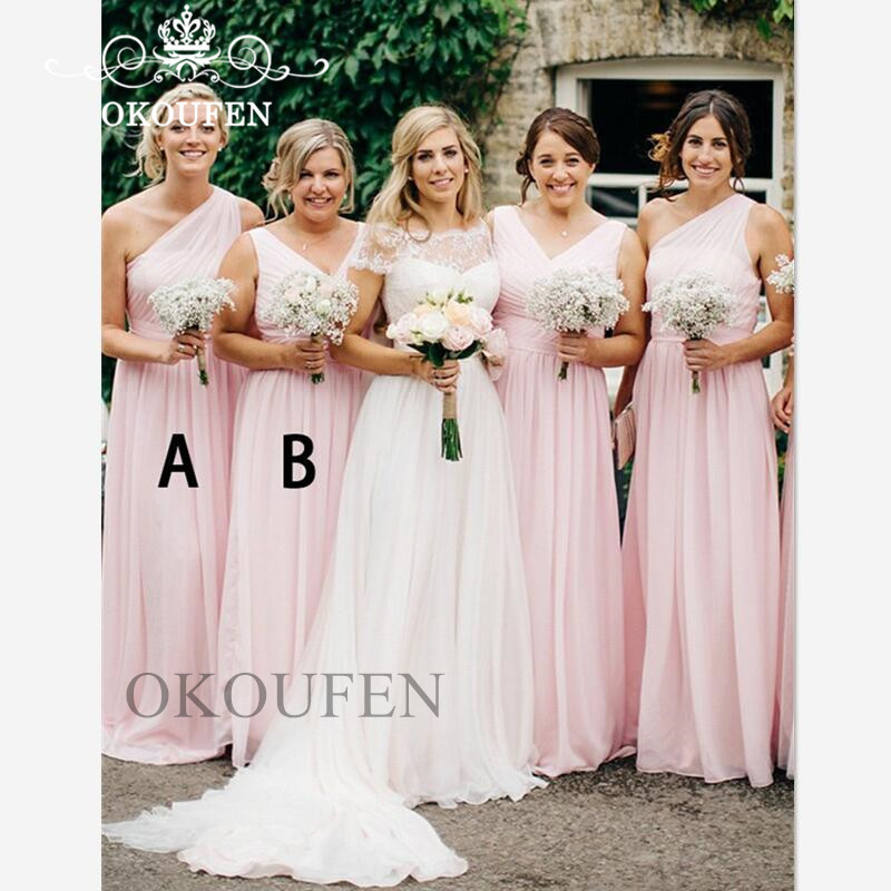 Flowing Chiffon Light Pink   Bridesmaid     Dresses   2019 One Shoulder A Line Beach Bohemia   Dress   For Wedding Party Gown