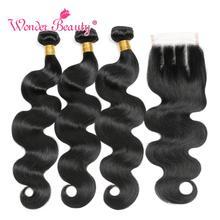 Перуанские пучки волнистых волос с закрытием чудо-красоты Remy человеческих волос плетение 3 пучка со средней/свободной/три части закрытия